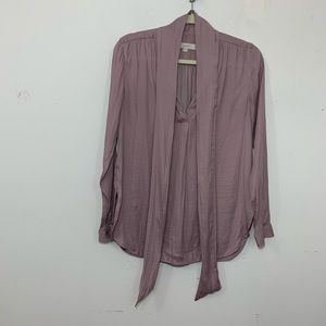Loft Ann Taylor pussy bow neck blouse purple small